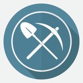 Icon pick and shovel on white circle — Stock Vector