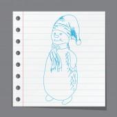 Christmas sketchy Snowman — Stock Vector