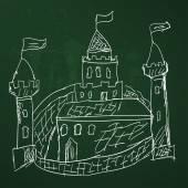 Medieval castle sketch — Stock Vector