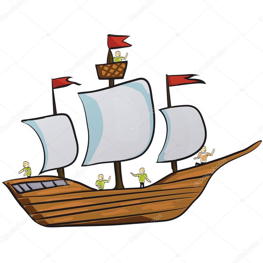 Barco De Vela Icono De Dibujos Animados De La Nave