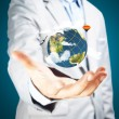 Business Male Hand hold earth globe — Stock Photo #53651453
