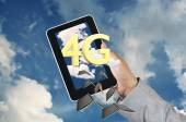 Business Man Hand Hold Tablet get the 4g — Stock Photo