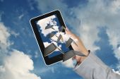 Business Man Hand hold Touch screen Tablet — Foto Stock