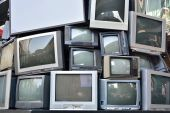 Stack or pile of CRT Display Television or TV — Stock Photo
