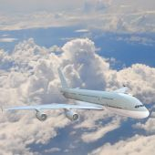 Airplane in the sky - Passenger Airliner, aircraft — Stock Photo