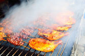 Grilled Barbecue Chicken with Full of Smoke — Stock Photo