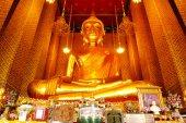 The Great Golden Buddha In Thai Buddhist Temple of WAT KALLAYAN — Stock Photo