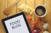 Food blog heading on a tablet — Stock Photo