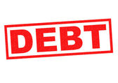 DEBT Rubber Stamp — Stock Photo