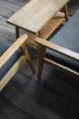 室内设计的复古实木家具的细节 — 图库照片