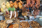 Chinese meat food at butcher shop in macau street market china — Zdjęcie stockowe