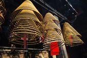 Incense coils burning in a-ma temple in macao china — Stock Photo