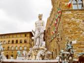 Retro look Fountain of Neptune in Florence — Foto de Stock