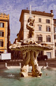 Retro look Triton Fountain in Rome — Stock Photo