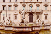 Retro look Fontana of the Four Rivers in Rome — Stock Photo