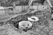 Koparka kopać dziurę — Zdjęcie stockowe