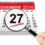 Thanksgiving Day Concept. 27 November 2014 calendar with magnifi — Stock Photo #56971043