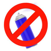 Blue Spray Can with prohibition sign  — Stock Photo