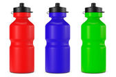 Multicolour Sport Plastic Water Bottles — Stock Photo