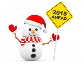 Snowman with 2015 New Year Ahead Sign — Stock Photo
