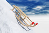 Sliding sledge in snow  — Stock Photo