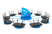 Routers around Wi-Fi sign — Stock Photo