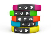 Multicolour Fitness Trackers — Stock Photo