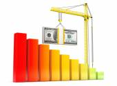 Dollars Bills lifted by Hoisting Crane — Stock Photo