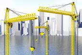 Yellow Hoisting Cranes — Stock Photo