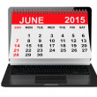 June 2015 calendar over laptop screen — Stock Photo #71295965