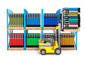 Forklift with Stack of Books  — Stock Photo