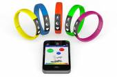 Fitness Trackers with Mobile Phone — Stock Photo