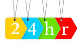 Multicoloured open or Service 24 hours Tags — Stock Photo