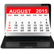 August 2015 calendar over laptop screen — Stock Photo #76494587