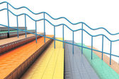 Multicolour stair with handrails — Stock Photo