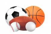 Sports balls isolated on white — Stock Photo