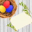 Easter eggs in nest over white wooden and blank card background — Stock Photo #66427371