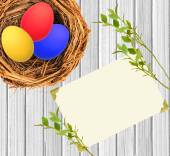 Easter eggs in nest over white wooden and blank card background — Stockfoto