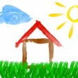 Paint drawing of house and sun - made by child — Stock Photo #66823929