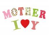 Mutter-Lettering Büttenpapier Briefe über weiße backgroun — Stockfoto