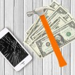 Modern broken mobile phone, hammer and dollars on white wooden b — Stock Photo #79395512