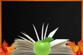 Blank blackboard, openned book and autumn maple leaves — Stock Photo