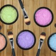 Постер, плакат: Set of 5 eyeshadows and brushes over wooden planks background