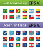 South America and Oceania flags — Stock Vector