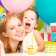 Children's birthday. mom, baby daughter, balloons, cake, gifts — Stock Photo #52085963