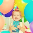 Children's birthday. happy little girl with gifts — Stock Photo #52520211