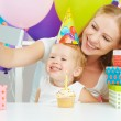 Happy children's birthday. selfie. Family with balloons, cake, gifts — Stock Photo #52520287