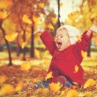 Happy little child, baby girl laughing and playing in autumn — Stock Photo #54221855