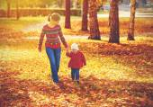 Happy family mother and child little daughter on autumn walk — Stock Photo
