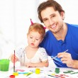 Happy family father and child daughter together draw paints — Photo #58999267